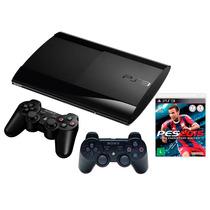 Playstation 3 Ps3 12gb S.slim 3d C/2 Controles + Jogo Pes 14
