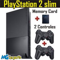 Play 2 Destravado + 2 Controle Origin + Memory 8mb + 5 Jogos