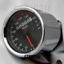 Velocimetro Universal Pequeno Fundo Preto, Bobber Cafe Racer