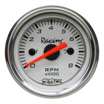 Contagiros Rpm 52mm Willtec Top Fundo Branco 52mm Tuning