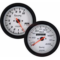 Velocímetro + Contagiros Tacômetro Willtec 100mm Fusca Buggy