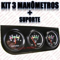 Kit De Manômetros 3 Relógios Amperímetro Pressão Óleo Temp