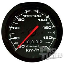 Velocímetro 100mm 200km Street Preto Fiat Vw Led Cronomac