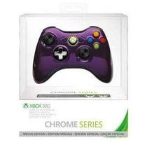 Controle Xbox 360 Sem Fio Wireless Chrome Series Roxo