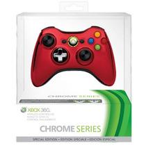Controle Xbox 360 Sem Fio Wireless Chrome Series Vermelho