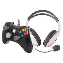 Kit Xbox 360 Controle Com Fio Original Feir Pc Fone Headset