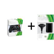 Controle Xbox 360 Sem Fio Bateria E Carregador Microsoft