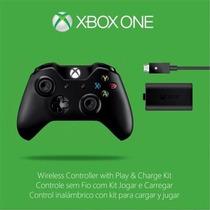 Controle Xbox One Sem Fio + Bateria E Cabo Recarga Original