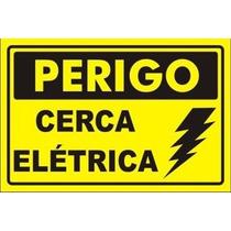 40 Placa Advertência: Perigo Cerca Elétrica Plástico