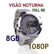 Relógio Espião Em Hd 8gb, Com Visão Noturna,5.0 Megapixel