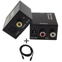 Adaptador De Áudio Digital Toslink Para Rca + Cabo Óptico