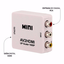 Mini Conversor Adaptador De Video 3rca Av Para Hdmi + Cabo