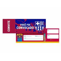 16 Unid. Convites Aniversário Festa Tema Fc Barcelona