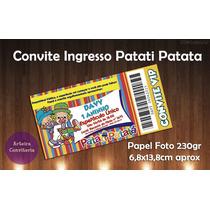 Convites Tipo Ingresso - 50 Unidades - Patati Patata