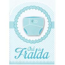 Convite Chá De Fralda Azul Menino - Com 40 Unidades