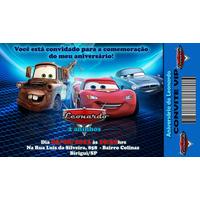 50 Convites - Convite Infantil Ingresso Carros Aniversário