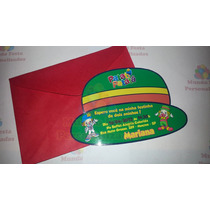 30 Convite Infantil Formato Chapéu Patati Patatá C/ Envelope