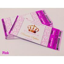 50 Convite Ingresso Vip Princesa Coroa Aniversário