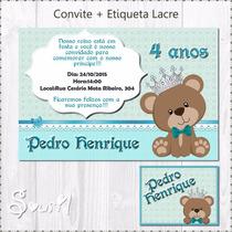 Convite + Etiqueta Ursinho Real Personalizado