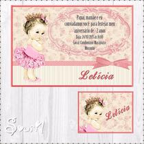 Convite Digital + Etiqueta Bailarina Personalizado