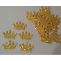 Kit 100 Lembrancinhas Recortes Apliques Coroas Em Eva Gliter