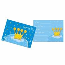 Cartão Convite Aniversário Coroa Príncipe - Festa Reino 8u