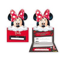 Convite Grande Festa De Aniversário Minnie Vermelha - 8unid.