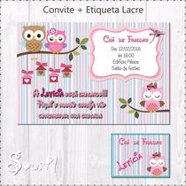 Convite Digital + Etiqueta Corujinha Personalizado