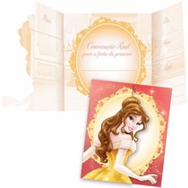 16 Unid. Convites Aniversário Infantil Festa Princesa Bela