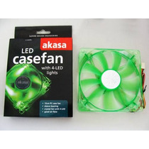 Cooler Fan 4 Led P/ Gabinete 120x120x25mm 12cm Verde Akasa ·