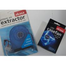 Kit 1 Cooler 8 Cm Led Azul + 1 Cooler Exaustor Ultra Violeta