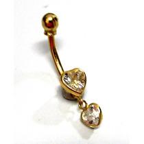 Piercing Umbigo Ouro 18k Coraçoes Cristal - K1.55 - Pie1255
