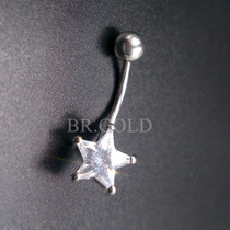 Piercing P/ Umbigo Estrela De Zircônia De Aço Antialérgico
