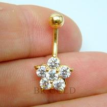 Piercing De Umbigo Dourado Flor De Zircônias Fácil Colocação