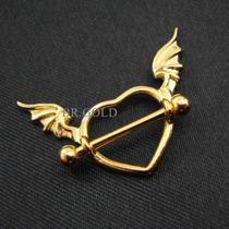 Piercing Coração Com Asas P/ Mamilo Em Prata Banhado A Ouro