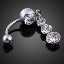 Piercing De Umbigo Pedras Zirconia Aço Cirurgico E Titanium
