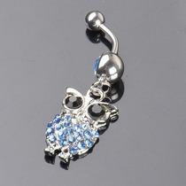 Piercing Umbigo Coruja Em Aço Cirurgico (anel,colar,prata)