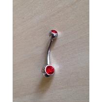 Piercing De Umbigo De Aço Cirúrgico Com Pedra Vermelha P