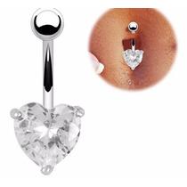 Piercing De Umbigo De Coração Prata Anti Alérgico