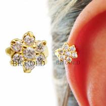 Piercing Argola De Flor Dourada C/ Zircônias P/ Orelha Helix