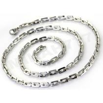 Cordão Masculino Elos Retangulares Aço Inox 3mm 55cm Prata
