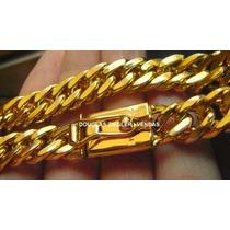 Cordão Banhado A Ouro 18k - Feicho De Gaveta Com Duas Travas