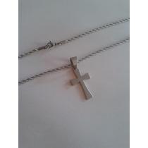 Corrente Cordão Trançada Com Pingente Crucifixo Aço Inox 3mm