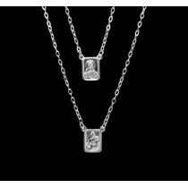 Escapulário Em Prata 925 - Medalha Média Corrente 60cm
