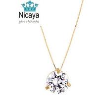 Nicaya Conjunto Colar Pingente Ponto De Luz Ouro 18k-750