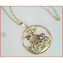 Corrente Medalha São Jorge Folheado A Ouro!