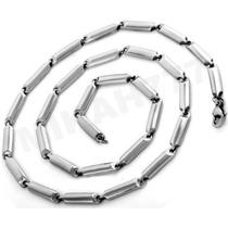 Corrente Cordão Masculino Elo Espelhado Aço Inox 4mm
