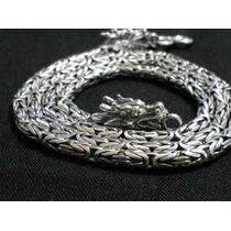 Corrente De Bali Ponto Peruano Em Prata 925 Fecho/dragão