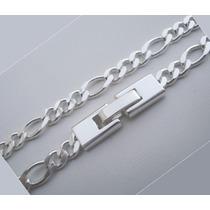 Conjunto Corrente+pulseira Masculina 5mm Folheados A Prata