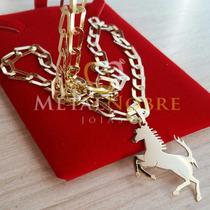 Cordão Masculino 60cm + Pingente Cavalo 15gramas Ouro18k